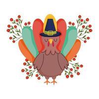 lycklig tacksägelsedag, kalkon med pilgrim hatt bär frukt gren firande