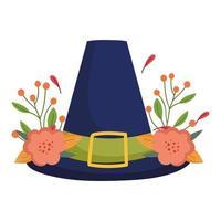lycklig tacksägelsedag, pilgrim hatt blommor lämnar frukt dekoration firande