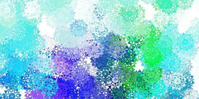 ljusblå, grön vektorstruktur med ljusa snöflingor. vektor