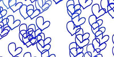 hellblaues Vektormuster mit bunten Herzen.