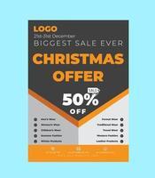 Weihnachtsangebot Flyer Vorlage Design vektor