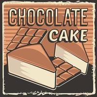 rustikaler klassischer Retro-Vintage-Beschilderungsplakatvektor des Schokoladenkuchens vektor