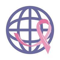 Monat des Bewusstseins für Brustkrebs, rosa Band der Weltkampagne, flacher Symbolstil des Gesundheitskonzepts