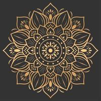 Gold Luxus Mandala Design auf schwarzem Hintergrund vektor