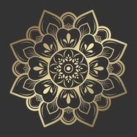 guld lyx mandala design på svart bakgrund vektor