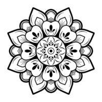 schwarzer Mandalaentwurf auf weißem Hintergrund vektor