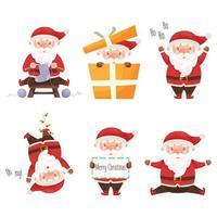 söt tecknad jultomten teckenuppsättning. vektor illustration.
