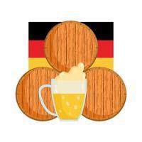 oktoberfest, stapel fässer bier und flagge, traditionelles deutschfest