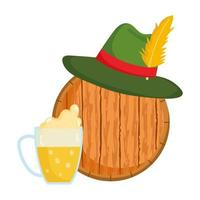 Oktoberfest, grüner Hut mit Feder auf Holzfass, traditionelles deutsches Fest vektor