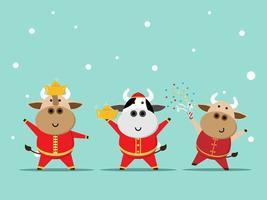 gott kinesiskt nyår, år av oxen söt ko i röd kostym vektor
