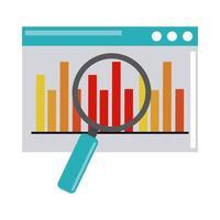 dataanalys, webbplats diagram finans förstoringsglas optimering platt ikon vektor