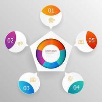 abstrakt cirkelinfografik 5 steg för presentation eller rapport vektor