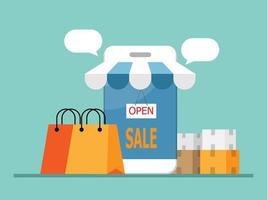 butik på mobil, online shoppingkoncept vektor