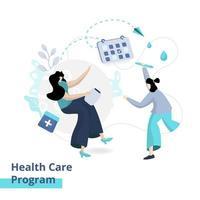 flache Darstellung des Gesundheitsprogramms