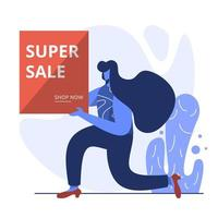 flache Illustration des Superverkaufs vektor