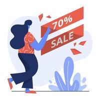 flache Illustration von 70 Verkauf