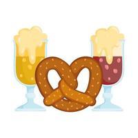 oktoberfest, biere mit schaum und brezel essen, traditionelles deutschfest