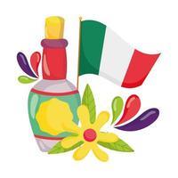mexikanischer Unabhängigkeitstag, Flasche Tequila Blume und Flagge, viva mexico wird im September gefeiert