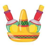 mexikanischer Unabhängigkeitstag, traditionelle Hut-Tequila-Flaschen, gefeiert im September