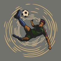 Fußballspieler, der einen Fußball tritt