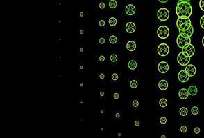 dunkelgrünes, gelbes Vektormuster mit magischen Elementen.