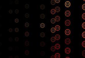 dunkelorange Vektormuster mit magischen Elementen.