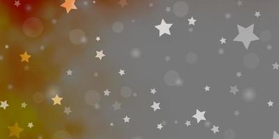 hellorange Vektor-Layout mit Kreisen, Sternen.