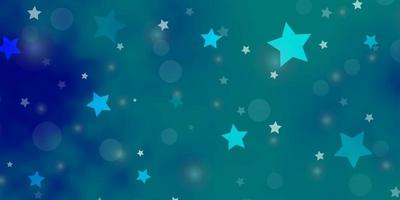 hellblaues Vektormuster mit Kreisen, Sternen.