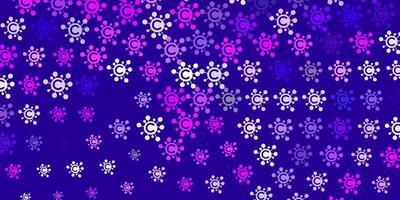 hellvioletter, rosa Vektorhintergrund mit Virensymbolen.