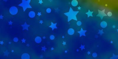 hellblauer, gelber Vektorhintergrund mit Kreisen, Sternen.
