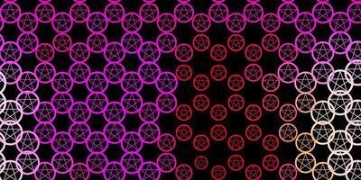 dunkelrosa, gelber Vektorhintergrund mit okkulten Symbolen.