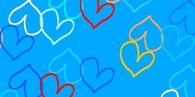 hellblauer, gelber Vektorhintergrund mit leuchtenden Herzen.