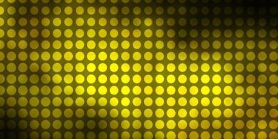 dunkelgrüne, gelbe Vektorbeschaffenheit mit Kreisen.
