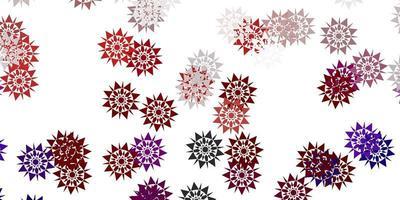 ljusröd vektorlayout med vackra snöflingor.