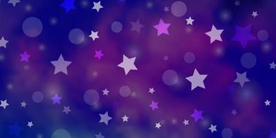 hellrosa, blaue Vektorschablone mit Kreisen, Sternen.