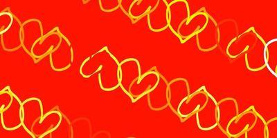 ljus orange vektor bakgrund med söta hjärtan.