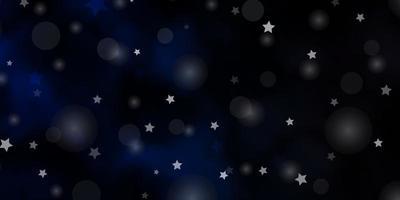 dunkelblaue Vektorschablone mit Kreisen, Sternen.