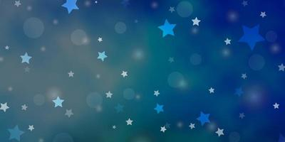 ljusblå, grön vektor bakgrund med cirklar, stjärnor.