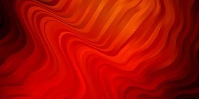 mörk röd, gul vektor bakgrund med böjda linjer.