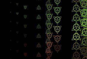 dunkelgrüner, gelber Vektorhintergrund mit okkulten Symbolen.