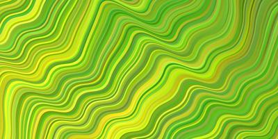 ljusgrön, gul vektorbakgrund med böjda linjer.