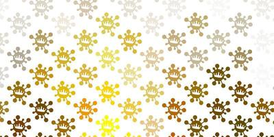 ljusgrön, gul vektorbakgrund med covid-19 symboler.