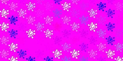 hellvioletter, rosa Vektorhintergrund mit Virensymbolen