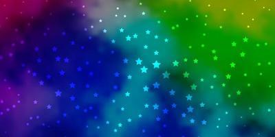 dunkles mehrfarbiges Vektormuster mit abstrakten Sternen.