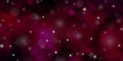 ljusrosa vektormall med cirklar, stjärnor. vektor