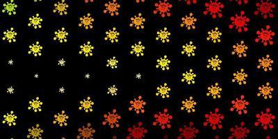 dunkelgrüner, roter Vektorhintergrund mit Virensymbolen