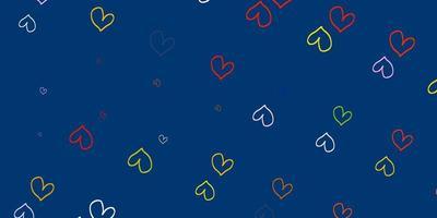 ljus flerfärgad vektor mönster med färgglada hjärtan.
