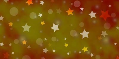 ljus orange vektor bakgrund med cirklar, stjärnor.