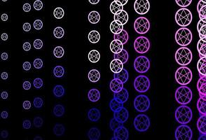 dunkelrosa Vektorhintergrund mit okkulten Symbolen.
