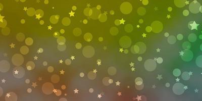 ljusgrön, röd vektorbakgrund med cirklar, stjärnor.